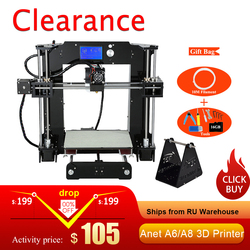 3d принтер Анет A8 auto level и нормальный 3д принтер 3D-принтеры 0.4 мм сопла RepRap i3 алюминиевый сплав очаг pritner DIY Kit нити 8 г SD карты принтер 3d