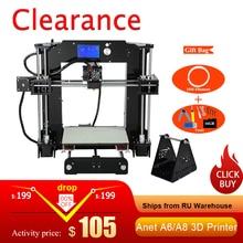 Anet A6/A8 Auto level & Normal 3D Printer 0.4mm Nozzle  i3 Aluminium Alloy Hotbed Pritner DIY Kit Filament 8G SD Card