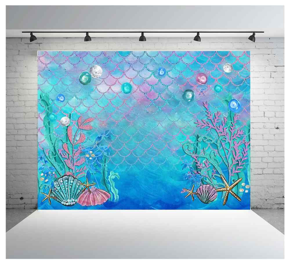 Mermaid Background Baby Shower Birthday Photography Backdrop Under water Photobooth for Pictures HUAYI W-597