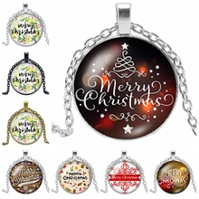 New Year's New Year Santa Claus Gives Gifts To Children's Jewelry Necklace Merry Christmas Gift Glass Cabochon Pendant Necklace merry christmas santa claus jewelry sets lovely enamel father christmas dangle earrings ring necklace bracelets jewelry set gift