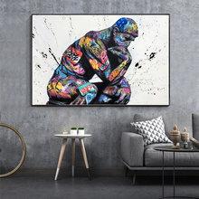 Thinker man граффити искусство настенные картины художественные