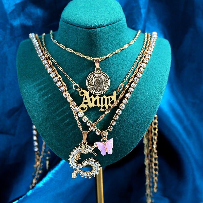 Punk altın renk çok katmanlı kolye melek mektubu kristal ejderha portre sikke kelebek Charms anahtarlık tenis kolye takı
