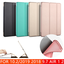 Case for New iPad 9 7 10 2 inch 2017 2018 2019 Air 1 Air 2 Funda Soft silicone bottom Back PU Leather Smart Cover Auto Sleep cheap PFHEU Protective Shell Skin For iPad9 7 10 2inch for model A1474 A1475 A1476 A1566 A1567 A1822 A1823 A1893 A1954 10 2 Solid
