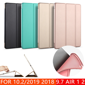 Case for New iPad 9.7 10.2 inch 2017 2018 2019 Air 1 Air 2 Funda Soft silicone bottom Back PU Leather Smart Cover Auto Sleep(China)