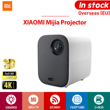 [글로벌 버전] XIAOMI Mijia 4k 프로젝터 tv 풀 HD 1080P EU 3D AI 500ANSI 2 + 8GB 30000 LED Wifi 블루투스 브래킷 극장