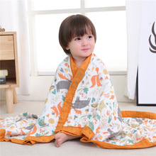 Pure Cotton Gauze Printed High-density Six-layer Cartoon Color Wide-edged Children's Quilt Baby Blanket Towel Blanket