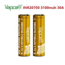 Vapcell-batería de iones de litio recargable, 20700, 3100mah, 30A, 3,7 V, para linterna, herramientas eléctricas con estuche de cremallera