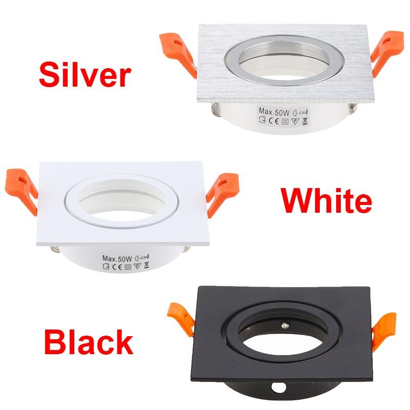 10PCS Preto Branco Prata Rodada Recesso LEVOU Luz de Teto Ajustável Quadro MR16 GU10 Lâmpada Dispositivo Elétrico Downlight Titular Recorte 65mm