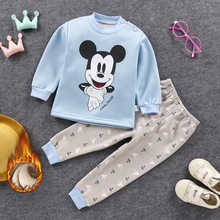 Warm Pijama Infantil Boy Winter Girls Baby Girl Clothes Haine Copii mickey fleece pajamas children dinosaur sleepwear pyjama kid(China)