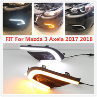 LED FOG LAMP COVER Daytime Running Light FIT For Mazda 3 Mazda3 Axela 2017 2018 LED DRL Daylight with yellow Signal style relay