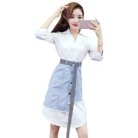 Women 2 Pieces Dress Sets Autumn Fashion V Neck Long White Shirt Dress&Mini Denim Skirt Sets Two Piece Chic Skirts Suits Outfits