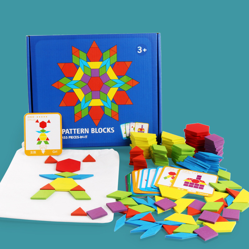 155 PCS Puzzle Educational Toys for Children Creative Games Jigsaw Puzzle Learning Kids Developing Wooden Geometric Shape Toys 2