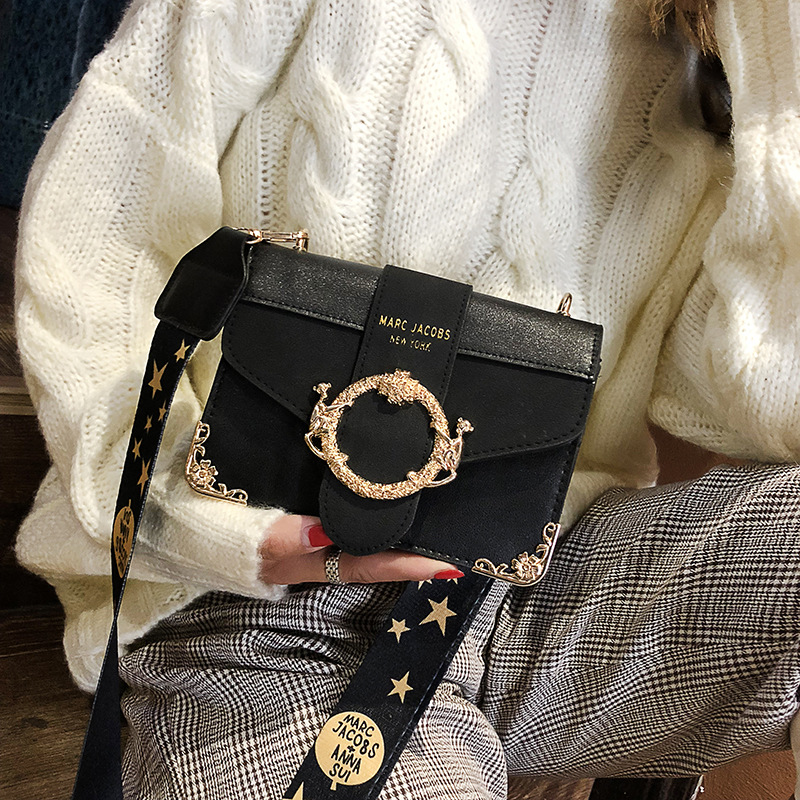 New Bag Women's 2018 New Style-Korean-style Versatile Autumn And Winter Shoulder Fashion Broadband CHIC Shoulder Square Sling Ba