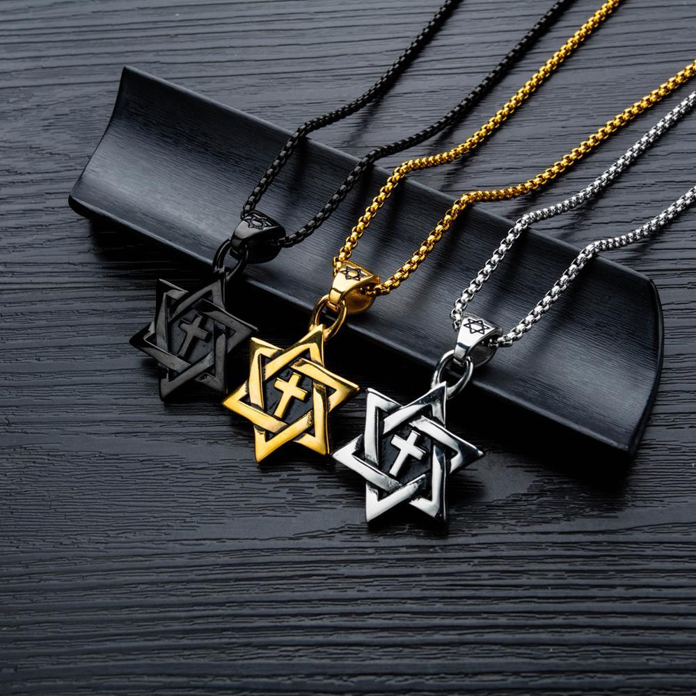 Collier croix homme OPK six étoiles étoile marée mâle titane acier ornements pendentif rétro - 3