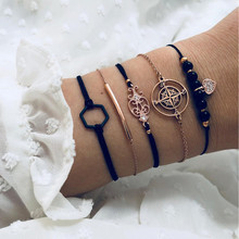 ZORCVENS Bohemian Black Beads Chain Bracelets Bangles For Women Fashion Heart Compass Gold Color Sets Jewelry