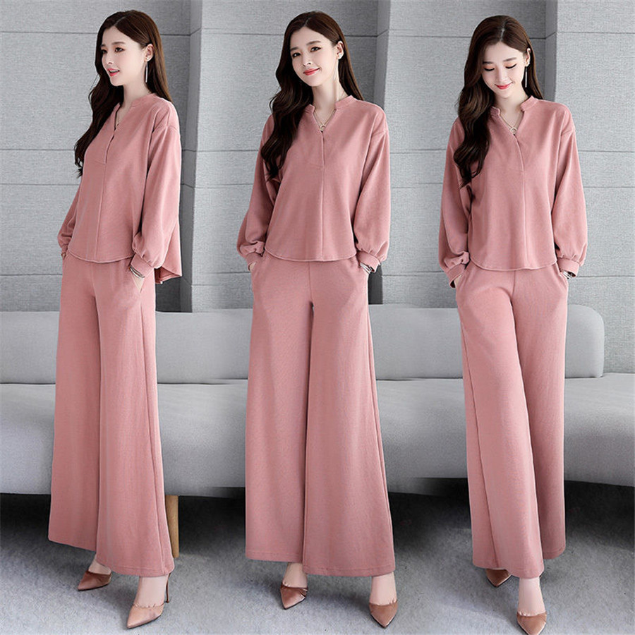 Set Two-piece Female 2020 Spring New Long Suit High Waist Wide Leg Pants  Fashion Solid Color Wild Women's Clothes
