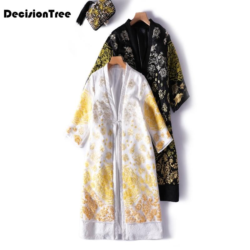 2020 Long Dress Women Chinese Style Cotton Embroidered Coat Female Hanfu V-neck Folk National Traditional Robe Costume