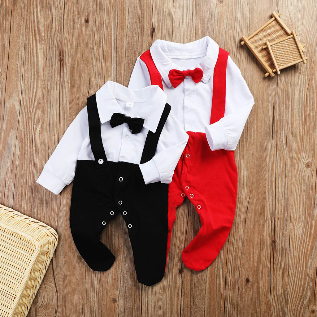 Toddler Baby Boys 6 Months-3T Striped Gentleman Bowtie Long Sleeve Shirt+Overall Pants Sets Outfit