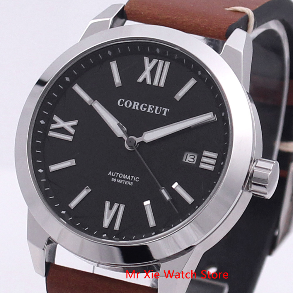 Corgeut 41mm Black Dial Luminous Mens Automatic Mechanical Watch Waterproof Calendar Sapphire Leather Strap Wristwatch Men