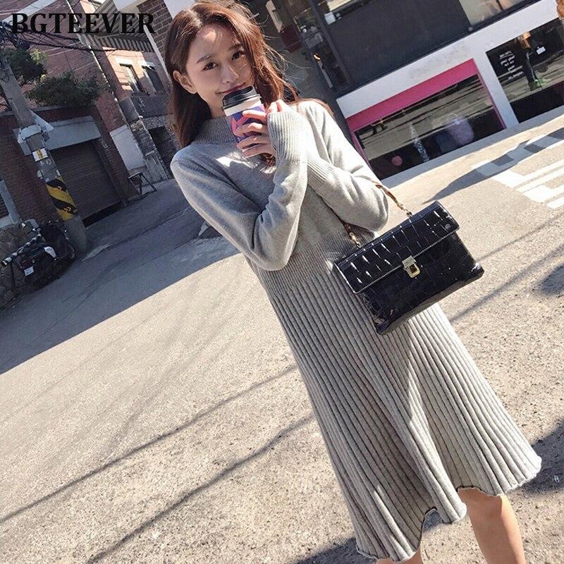 Elegant OL O-neck Long Sweater Dress Women Autumn Winter Dress Female A-line Basic Knitted Dress Casual Pullover Vestidos 2019
