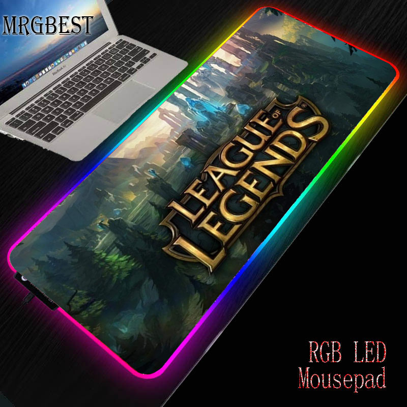 MRGBEST Nature Blue Forest Snow Large Gaming RGB Mousepad Non-slip Natural Rubber  Mouse Mat with Lockedge LEAGUE LEGENDS