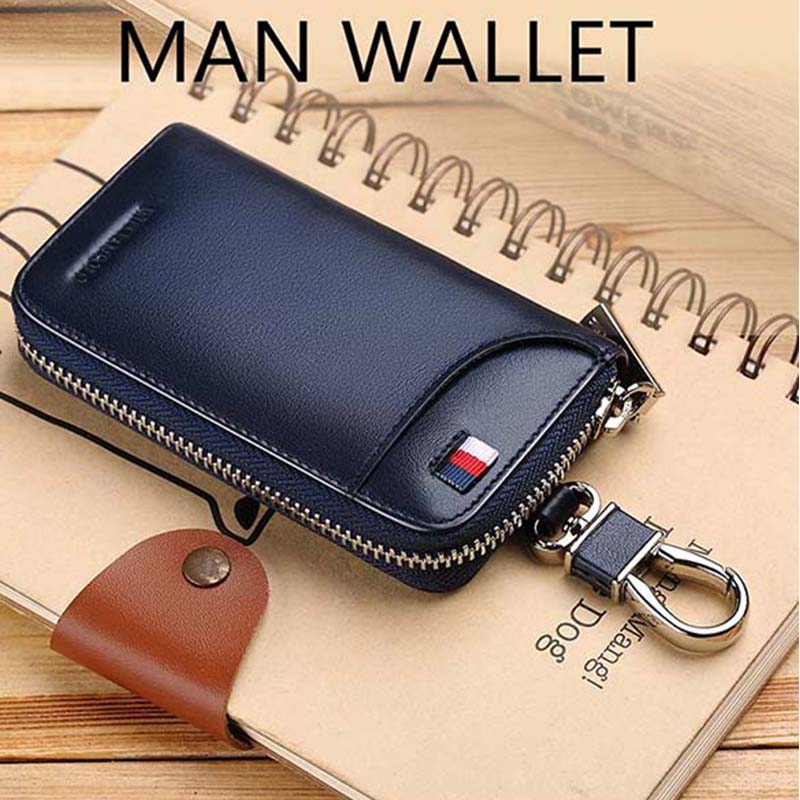 2021 new leather men's car key bag multifunctional business key box high quality fashion waist key manager portable key chain