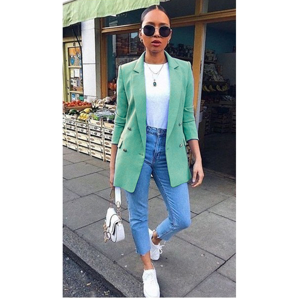 Autumn New Women Chic Blazer Buttons Design Fashion Office Lady Solid Color Long Sleeve Suit Coat Outerwear Tops Plus Size S-5XL