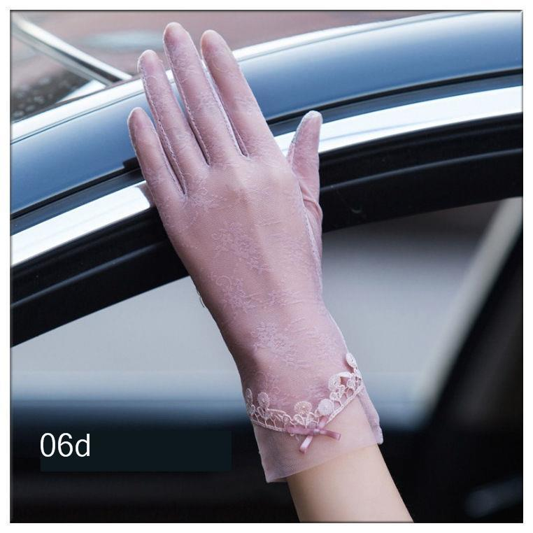 Women's Lace Protective Hollow-Out Gloves Lace Sunscreen Gloves Summer Spring Lady Stretch Touch Screen Anti UV