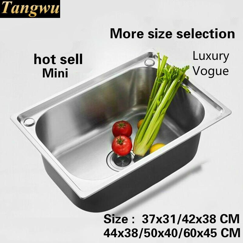 Free Shipping Fashion Mini Balcony Single Trough Sink Common 304 Stainless Steel Hot Sell 37x31/42x38/44x38/50x40/60x45 CM