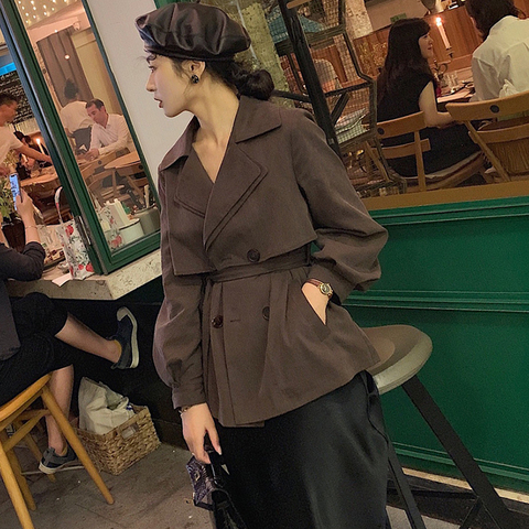 New Autumn Fashion Casual Women Short trench coat lace up Double Breasted Jacket Outerwear High Quality 2019 Islamabad