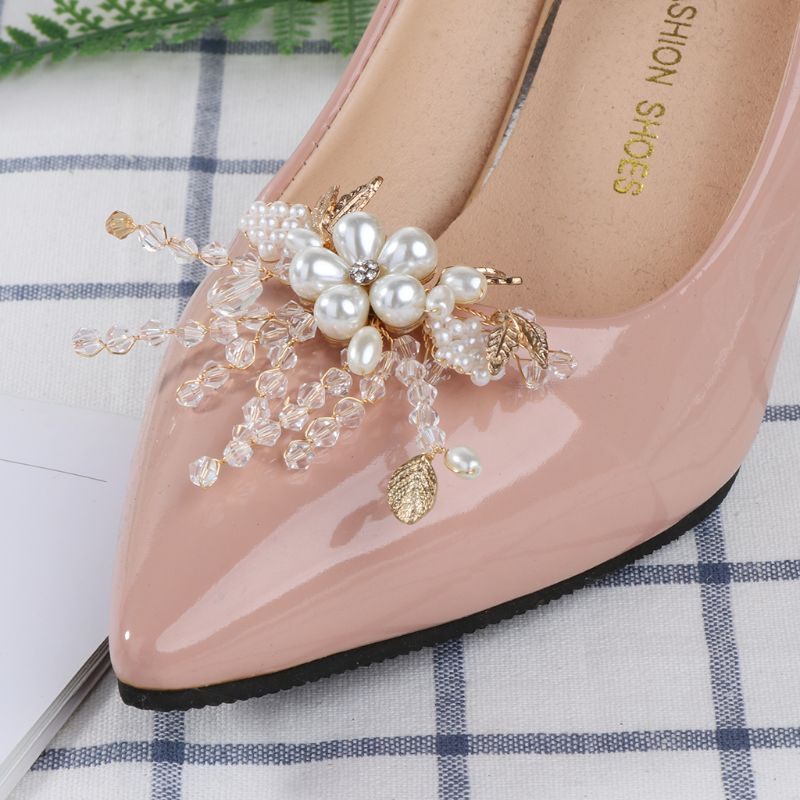 Shoe Clip Crystal Pearls High Heel Decoration Charms DIY Shoes Removable Buckle
