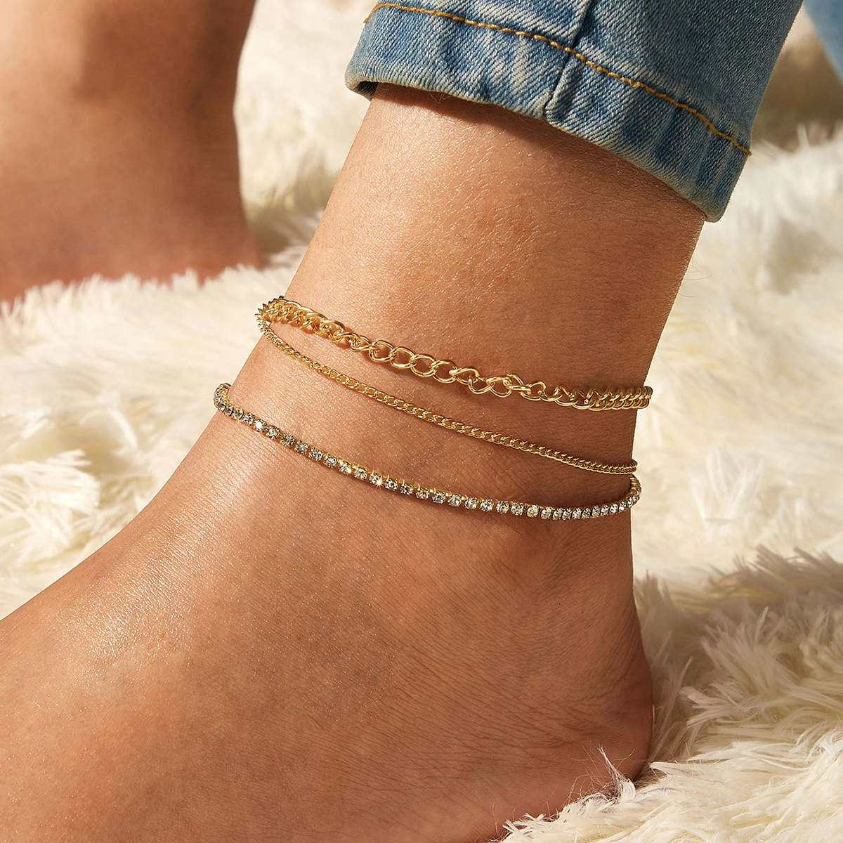 European and American New Full-diamond Multilayer Anklet Set Three-piece Set Creative Simple Foot Ornaments Anklets for Women