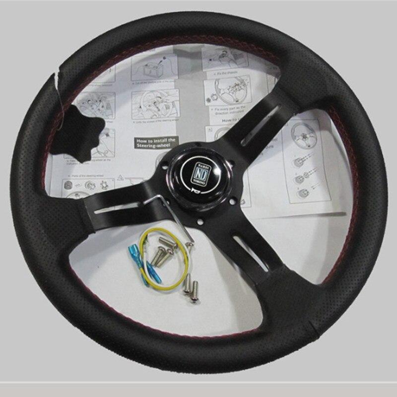 330mm 13 zoll schwarz farbe Speichen Deep Dish Echt Leder ND Tuning Driften Racing lenkrad rote linie