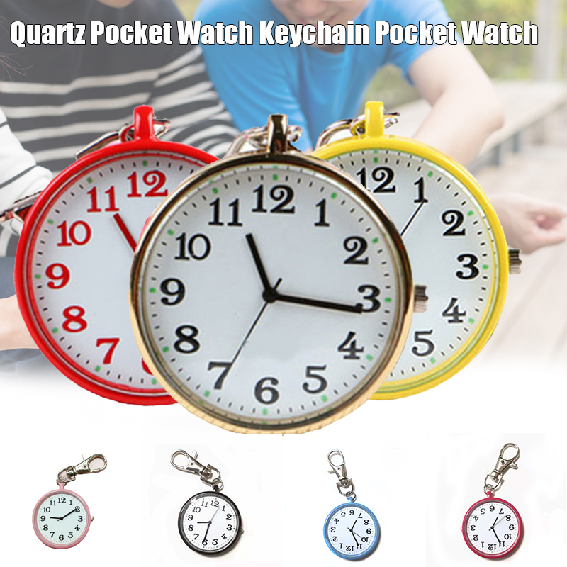 Fashion Pocket Watch Small Round Dial Quartz Analog Keychain Pocket Watch Clock H9