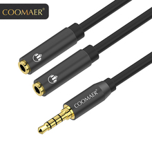 Headphone splitter audio cable 3.5 mm male to 2 female jack adapter for mobile phone laptop MP3 MP4 player