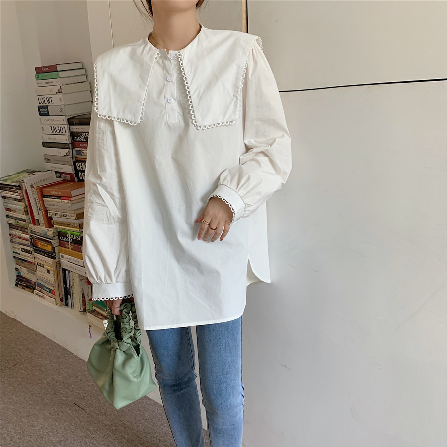 H5d16adb1627e48f585ff2f410707e1a5v - Spring / Autumn Puritan collar Long Sleeves Solid Blouse