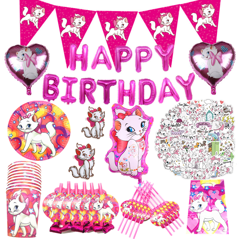 Marie Cat Theme Birthday Decoration Paper Plate Cup Tablecloth Banner Disposable Pink Tableware Set Balloon Baby Shower Wedding