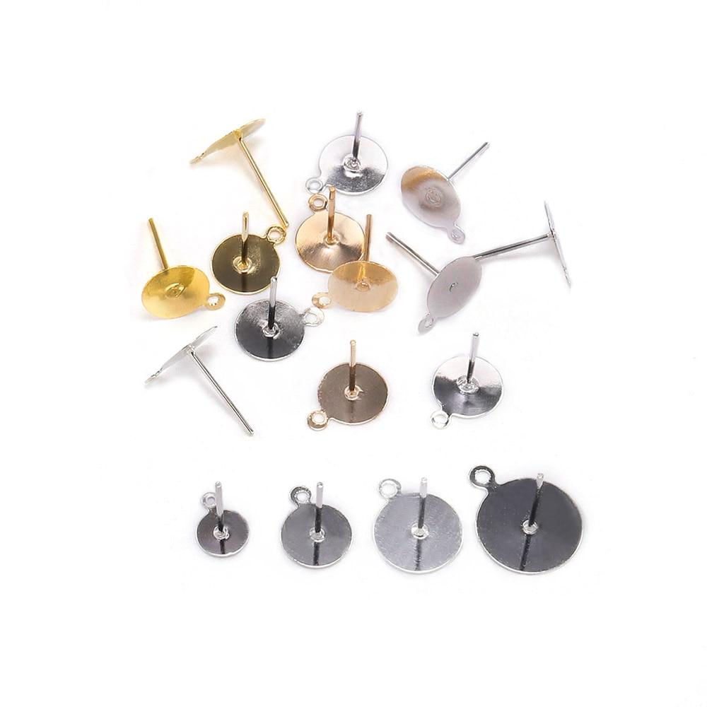 14 mm dia 10 pcs Brass Ear Stud Cabochon Settings Ear studs blanks Earrings