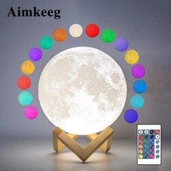 Лампа в виде Луны с 3D рисунком, светодиодный ночсветильник 16 цветов, USB-зарядка, сенсорный выключатель, настольная лампа, подарок для детей, у...