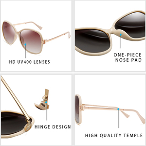 Image 3 - PARZIN 2019 Brand Fashion Big Frame Women Polarized Sunglasses High Quality Vintage Metal Temple Design Sun Glasses