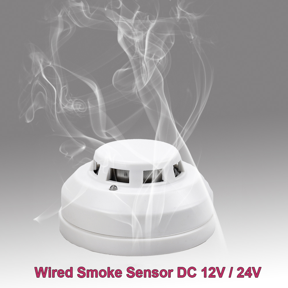 GZGMET 12V DC Smoke Detector Photoelectric Home Alarm Sensor Fire Security Detector For Wired Alarm System