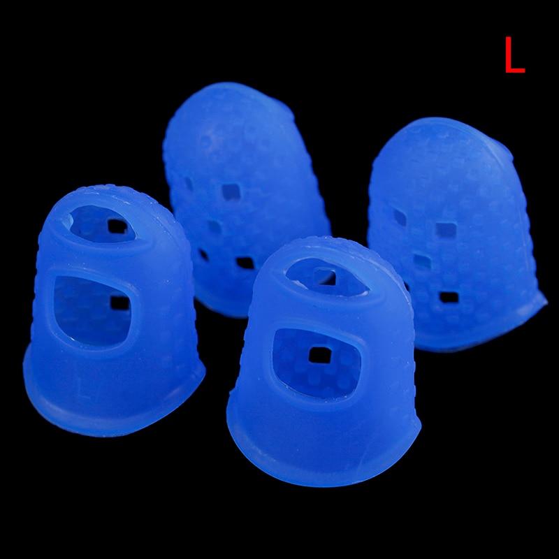 Купить с кэшбэком 4Pcs/Set Silicone Finger Guards Guitar Fingertip Protectors For Ukulele Guitar S M L Transparent Blue Color