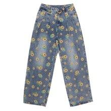 L-4XL Large Size Jeans Women Harajuku Sunflower Print Jeans