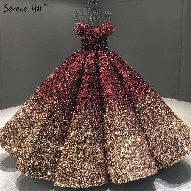 שינוי הדרגתי שחור אדום חתונת שמלות 2020 נצנצים שרוולים יוקרה כלה שמלות Serene היל HA2305 תפור לפי מידה