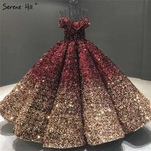 Gradual Change Black Red Wedding Dresses 2020 Sequined Sleeveless Luxury Bridal Gowns Serene Hill HA2305 Custom Made