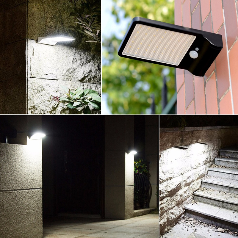 36led Solar Light PIR Motion Sensor Powered Street Lamp for Garden,Fence,Patio,Deck,Yard,Driveway,Stairs,Outside Wall IP65 black