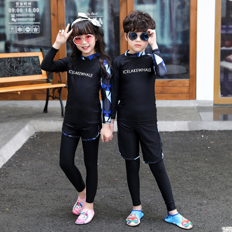 CHILDREN'S Swimsuit Set Men And Women Children Split Type Kids Baby Sun-resistant Diving Suit Long Sleeve Trousers Big Boy Swimm