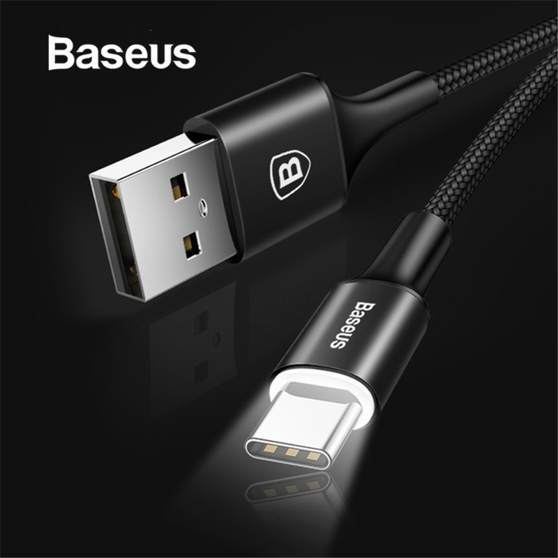 Baseus USB Type C кабель USB C для Samsung S9 S10 LED освещение Тип C кабель для Huawei P30 Lite Pro USB-C кабели для мобильных телефонов