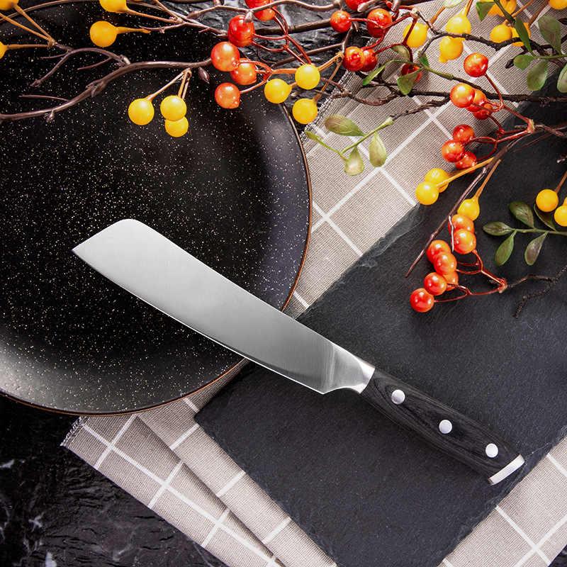 SHUOJI japon mutfak bıçakları 4Cr14 paslanmaz çelik şef pişirme bıçaklar balık sebze dilimleme bıçağı renk ahşap saplı balta