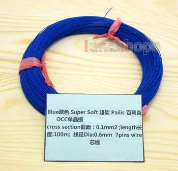 LN004441 Blue 100m 30AWG Pailic Silver Plated +   OCC Signal  Wire Cable 7/0.1mm2 Dia:0.65mm For DIY Hifi